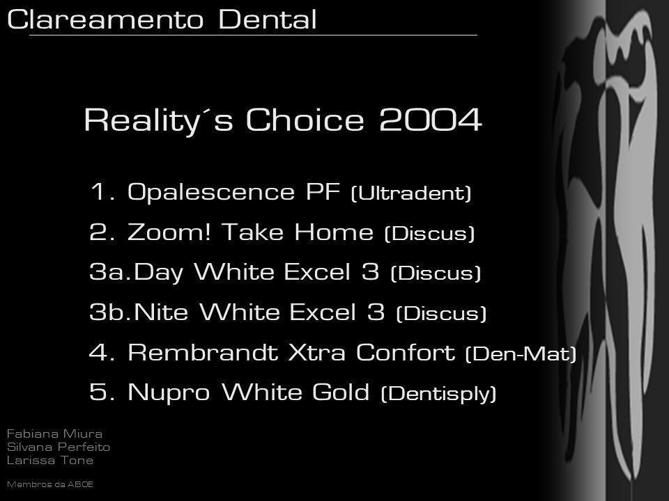 Clareamento Dental Fabiana Miura Silvana Perfeito Larissa Tone Membros da ABOE Reality´s Choice 2004 1. Opalescence PF (Ultradent) 2. Zoom! Take Home