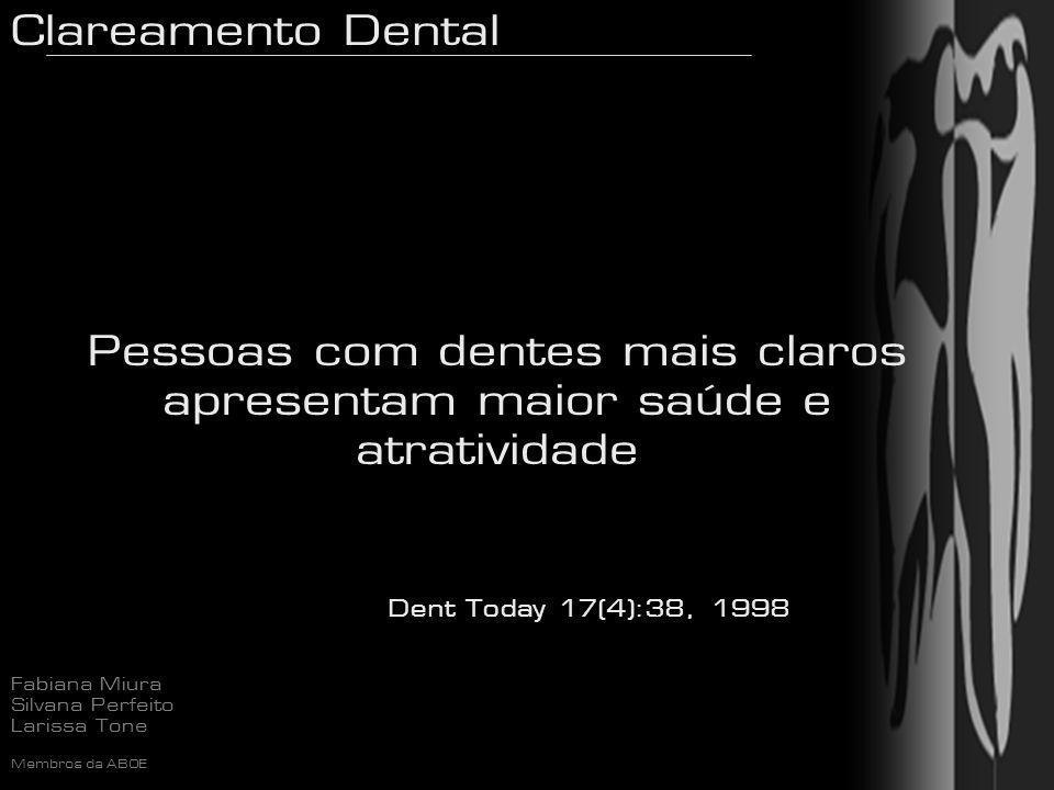 Clareamento Dental Fabiana Miura Silvana Perfeito Larissa Tone Membros da ABOE Peróxido de Carbamida H2O2 + CO(NH2)2 URÉIA OXIGÊNIO + ÁGUA CH4N20-H202 TECIDOS / SALIVA AMÔNIA E CO2