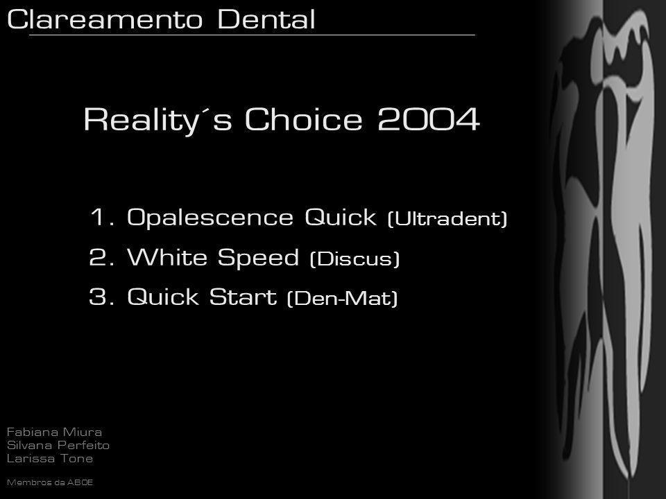 Clareamento Dental Fabiana Miura Silvana Perfeito Larissa Tone Membros da ABOE Reality´s Choice 2004 1. Opalescence Quick (Ultradent) 2. White Speed (