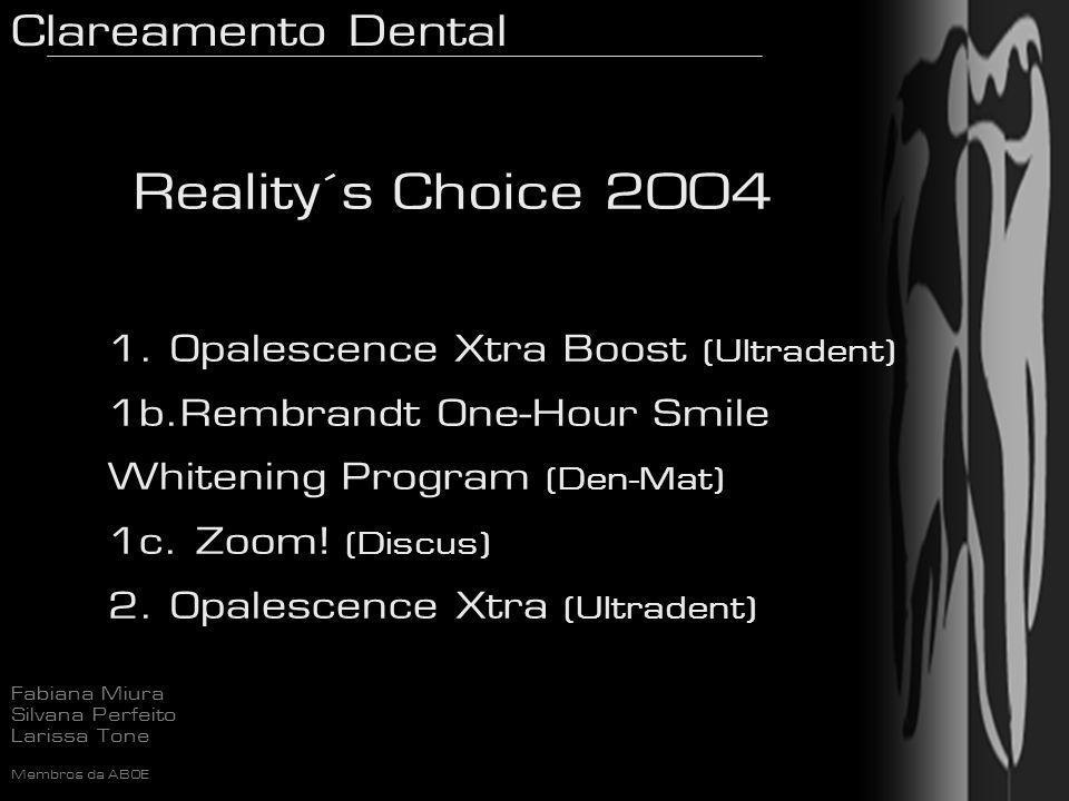 Clareamento Dental Fabiana Miura Silvana Perfeito Larissa Tone Membros da ABOE Reality´s Choice 2004 1. Opalescence Xtra Boost (Ultradent) 1b.Rembrand
