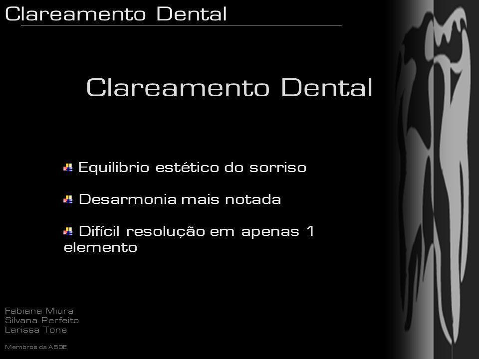 Clareamento Dental Fabiana Miura Silvana Perfeito Larissa Tone Membros da ABOE Sensibilidade Flúor tópico neutro Flor-Opal (Ultradent) UltraEZ (Ultradent) Flúor Gel (Discus) Desensibilize (FGM) Alternar os dias de aplicação