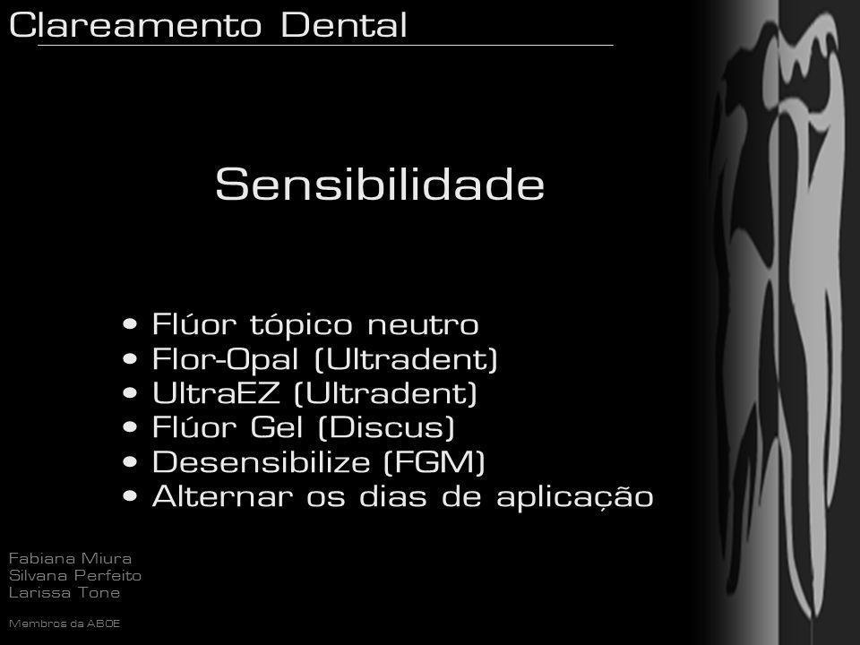 Clareamento Dental Fabiana Miura Silvana Perfeito Larissa Tone Membros da ABOE Sensibilidade Flúor tópico neutro Flor-Opal (Ultradent) UltraEZ (Ultrad