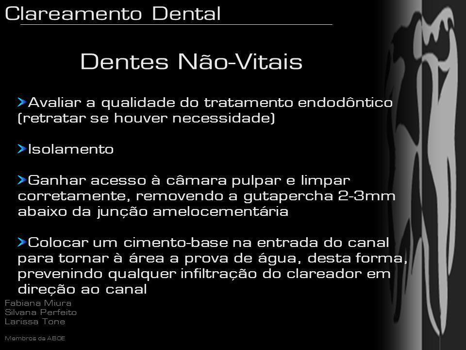 Clareamento Dental Fabiana Miura Silvana Perfeito Larissa Tone Membros da ABOE Avaliar a qualidade do tratamento endodôntico (retratar se houver neces