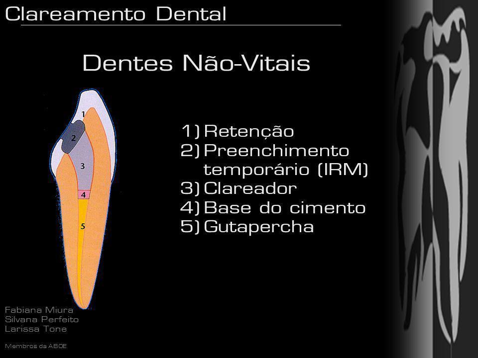 Clareamento Dental Fabiana Miura Silvana Perfeito Larissa Tone Membros da ABOE 1) Retenção 2) Preenchimento temporário (IRM) 3) Clareador 4) Base do c