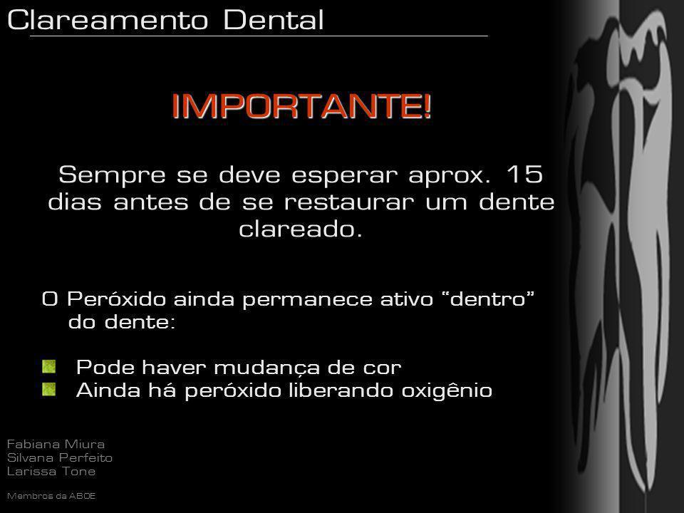 Clareamento Dental Fabiana Miura Silvana Perfeito Larissa Tone Membros da ABOE IMPORTANTE! IMPORTANTE! Sempre se deve esperar aprox. 15 dias antes de