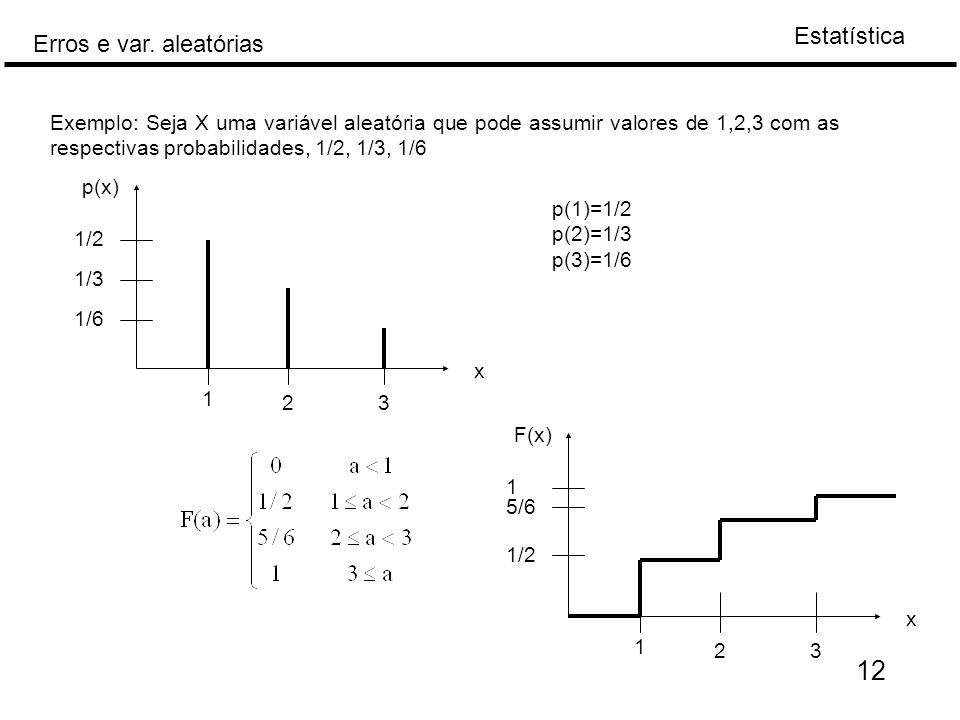 Estatística Erros e var. aleatórias 12 Exemplo: Seja X uma variável aleatória que pode assumir valores de 1,2,3 com as respectivas probabilidades, 1/2