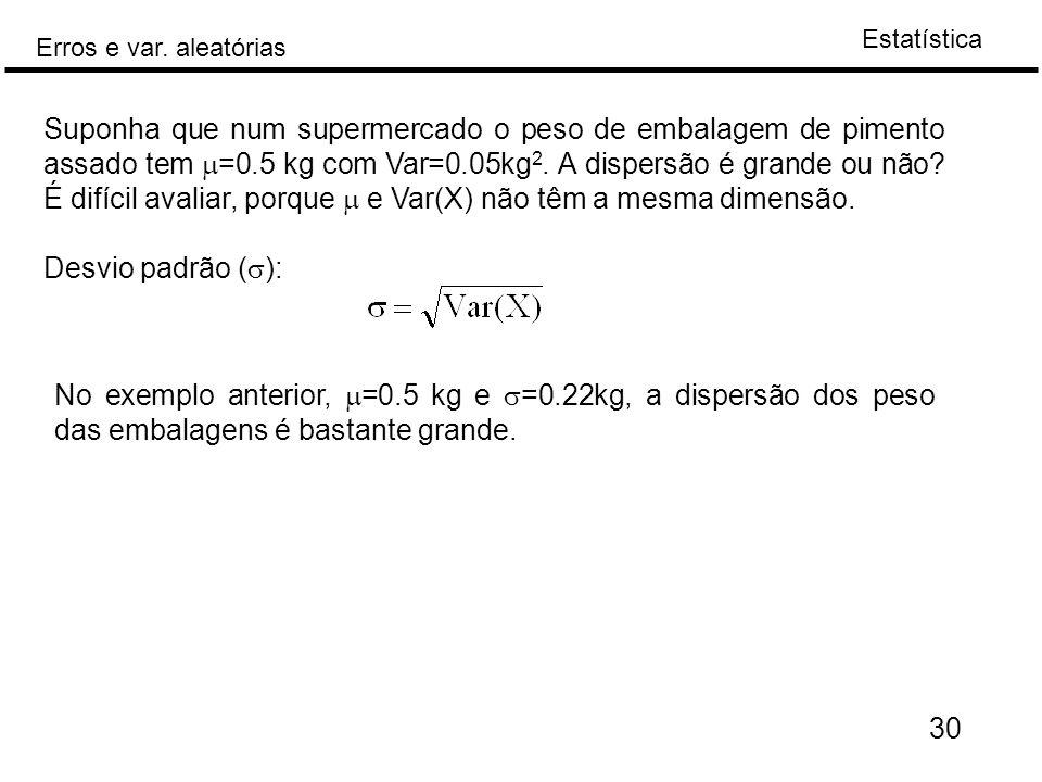 Estatística Erros e var. aleatórias 30 Suponha que num supermercado o peso de embalagem de pimento assado tem  =0.5 kg com Var=0.05kg 2. A dispersão