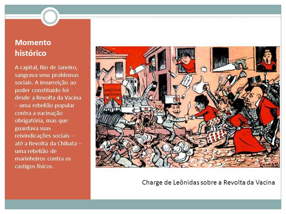 Momento histórico A capital, Rio de Janeiro, sangrava seus problemas sociais. A insurreição ao poder constituído foi desde a Revolta da Vacina – uma r