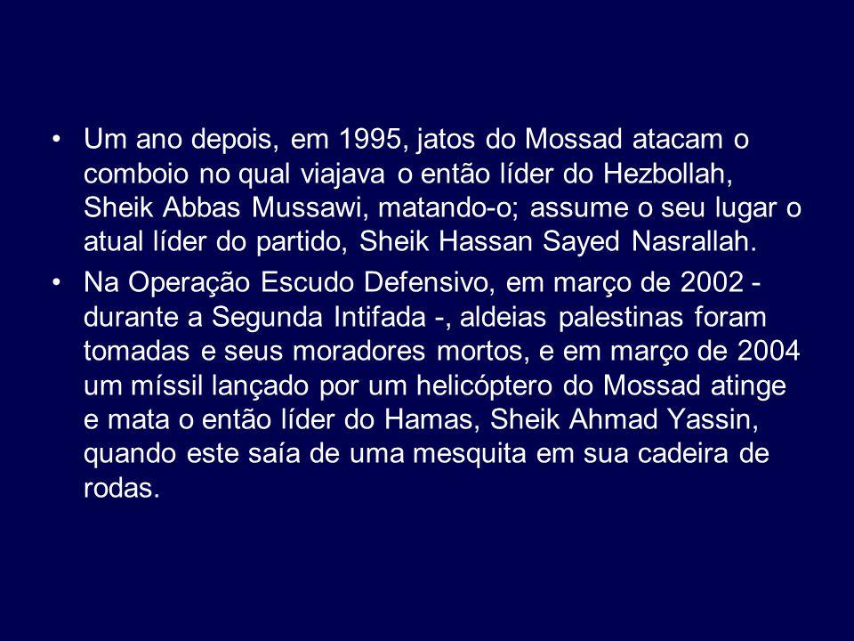 Um ano depois, em 1995, jatos do Mossad atacam o comboio no qual viajava o então líder do Hezbollah, Sheik Abbas Mussawi, matando-o; assume o seu luga