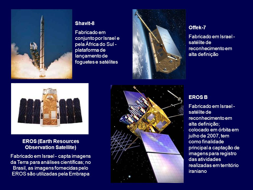 Shavit-8 Fabricado em conjunto por Israel e pela África do Sul - plataforma de lançamento de foguetes e satélites Offek-7 Fabricado em Israel - satéli