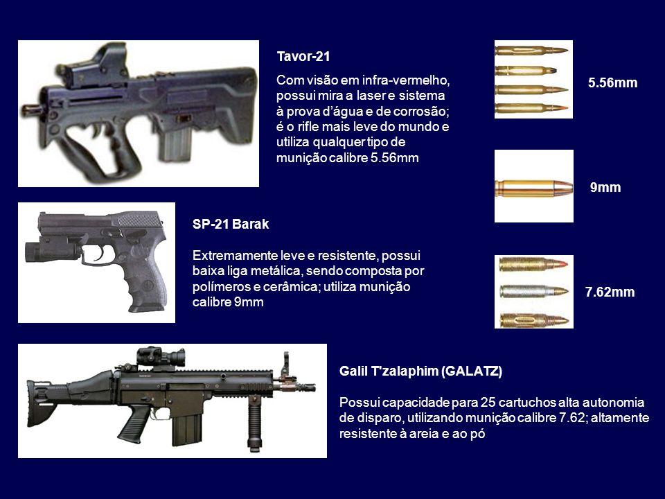 5.56mm Tavor-21 Com visão em infra-vermelho, possui mira a laser e sistema à prova d'água e de corrosão; é o rifle mais leve do mundo e utiliza qualqu