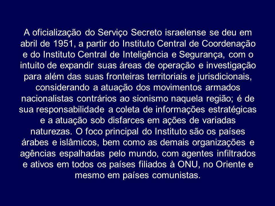 A oficialização do Serviço Secreto israelense se deu em abril de 1951, a partir do Instituto Central de Coordenação e do Instituto Central de Inteligê