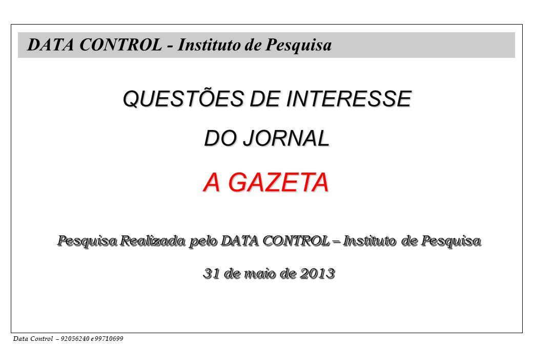 Data Control – 92056240 e 99710699 DATA CONTROL - Instituto de Pesquisa QUESTÕES DE INTERESSE DO JORNAL A GAZETA Pesquisa Realizada pelo DATA CONTROL – Instituto de Pesquisa 31 de maio de 2013 Pesquisa Realizada pelo DATA CONTROL – Instituto de Pesquisa 31 de maio de 2013