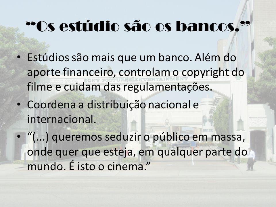 """""""Os estúdio são os bancos."""" Estúdios são mais que um banco. Além do aporte financeiro, controlam o copyright do filme e cuidam das regulamentações. Co"""