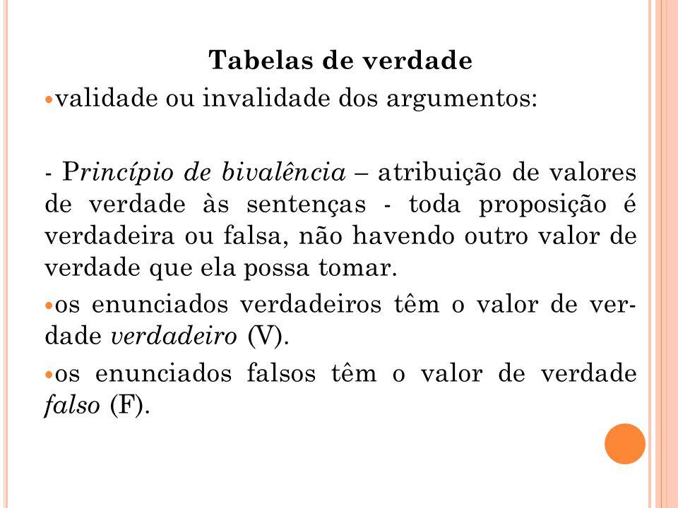 Tabelas de verdade validade ou invalidade dos argumentos: - P rincípio de bivalência – atribuição de valores de verdade às sentenças - toda proposição