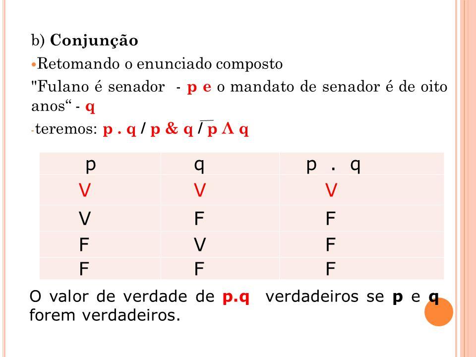 b) Conjunção Retomando o enunciado composto