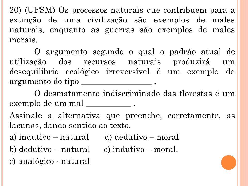 20) (UFSM) Os processos naturais que contribuem para a extinção de uma civilização são exemplos de males naturais, enquanto as guerras são exemplos de
