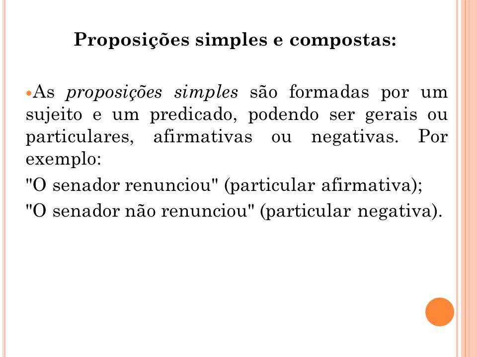 Proposições simples e compostas: As proposições simples são formadas por um sujeito e um predicado, podendo ser gerais ou particulares, afirmativas o