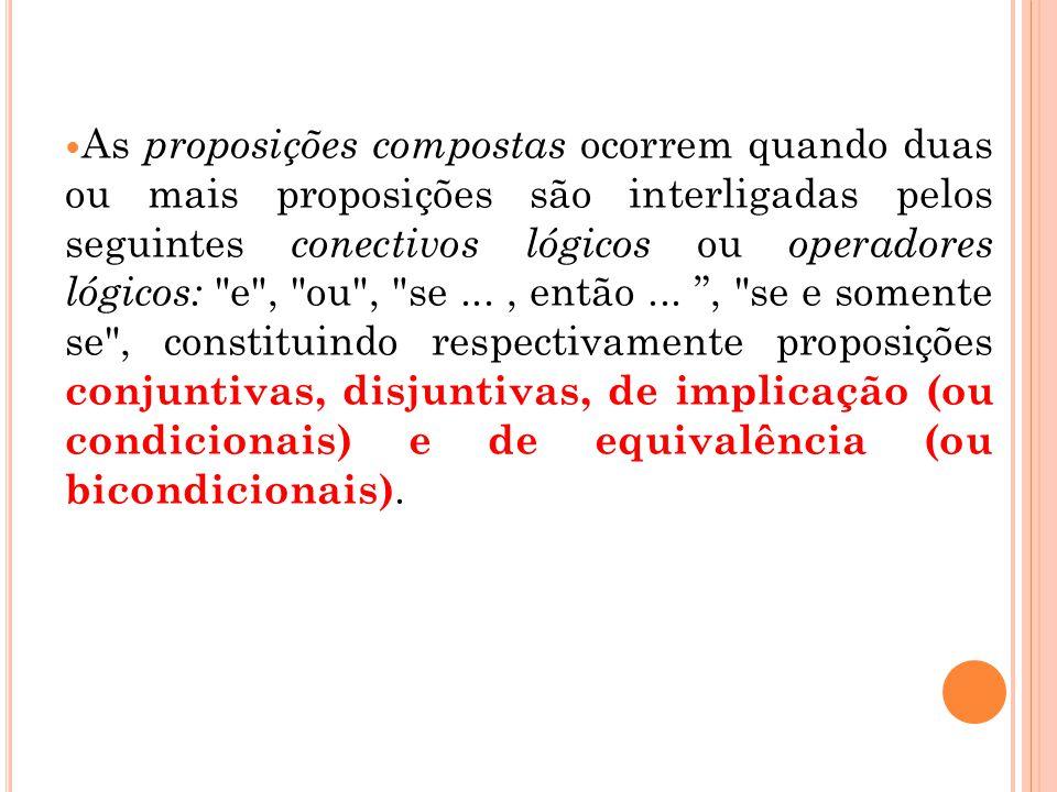 As proposições compostas ocorrem quando duas ou mais proposições são interligadas pelos seguintes conectivos lógicos ou operadores lógicos: