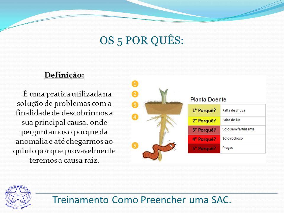 Treinamento Como Preencher uma SAC. OS 5 POR QUÊS: Definição: É uma prática utilizada na solução de problemas com a finalidade de descobrirmos a sua p