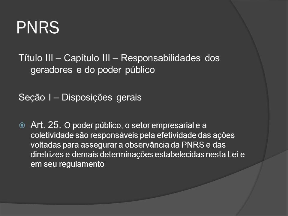 PNRS Título III – Capítulo III – Responsabilidades dos geradores e do poder público Seção I – Disposições gerais  Art. 25. O poder público, o setor e