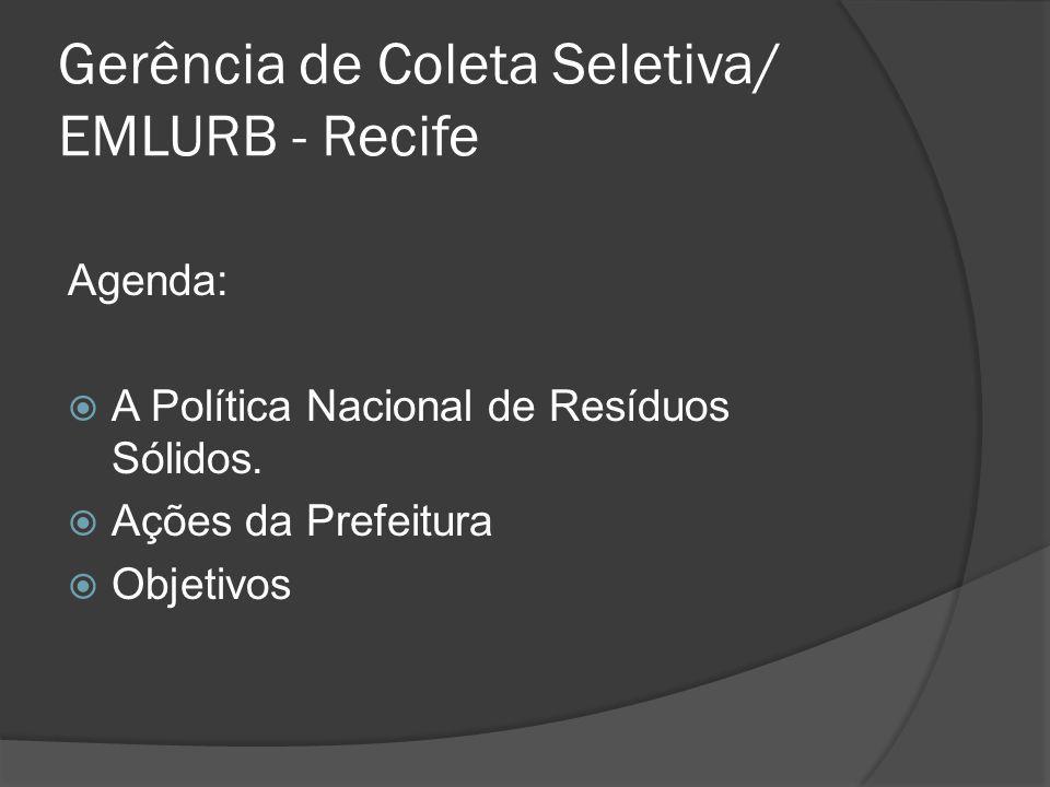 Gerência de Coleta Seletiva/ EMLURB - Recife Agenda:  A Política Nacional de Resíduos Sólidos.  Ações da Prefeitura  Objetivos