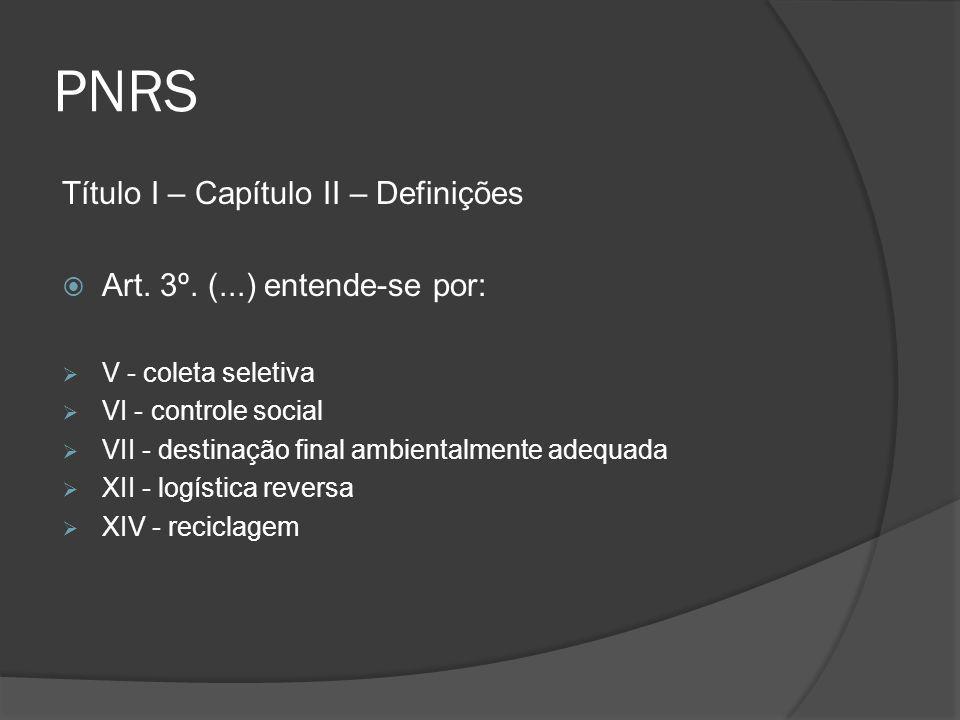 PNRS Título I – Capítulo II – Definições  Art. 3º. (...) entende-se por:  V - coleta seletiva  VI - controle social  VII - destinação final ambien