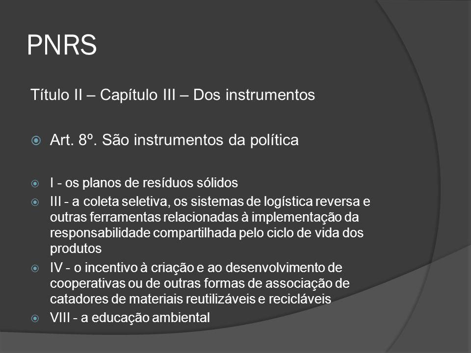 PNRS Título II – Capítulo III – Dos instrumentos  Art. 8º. São instrumentos da política  I - os planos de resíduos sólidos  III - a coleta seletiva