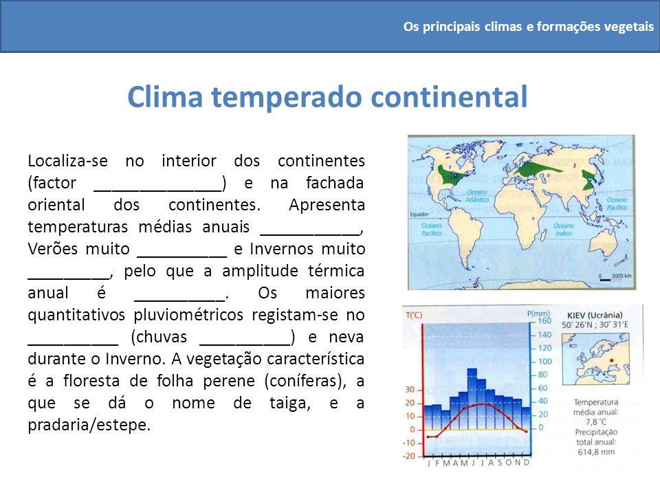 Clima temperado continental Localiza-se no interior dos continentes (factor ______________) e na fachada oriental dos continentes. Apresenta temperatu