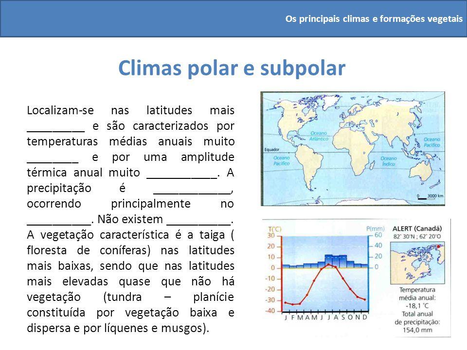 Climas polar e subpolar Localizam-se nas latitudes mais _________ e são caracterizados por temperaturas médias anuais muito ________ e por uma amplitu
