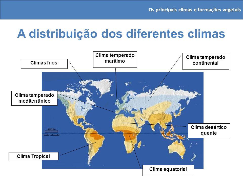 A distribuição dos diferentes climas Clima equatorial Clima Tropical Clima temperado continental Clima desértico quente Clima temperado mediterrânico