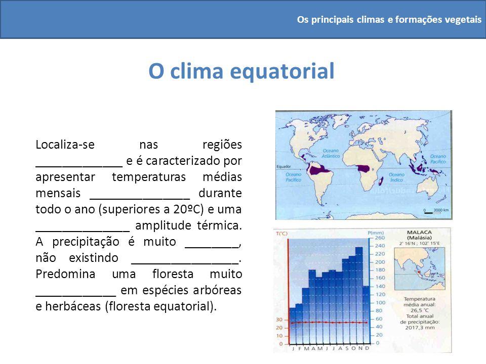 O clima equatorial Localiza-se nas regiões _____________ e é caracterizado por apresentar temperaturas médias mensais _______________ durante todo o a