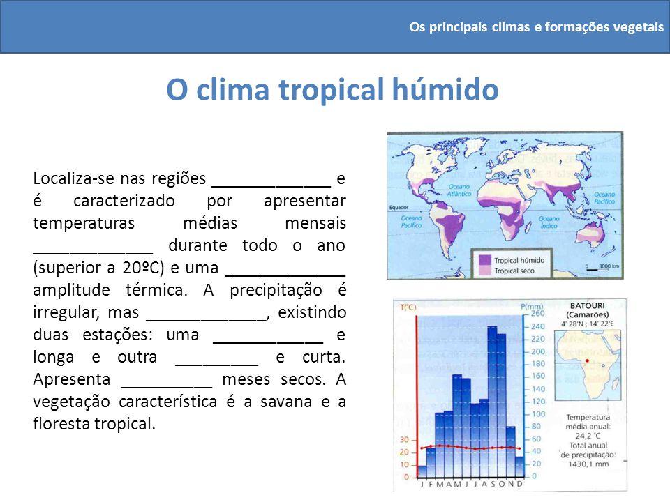 O clima tropical húmido Localiza-se nas regiões _____________ e é caracterizado por apresentar temperaturas médias mensais _____________ durante todo