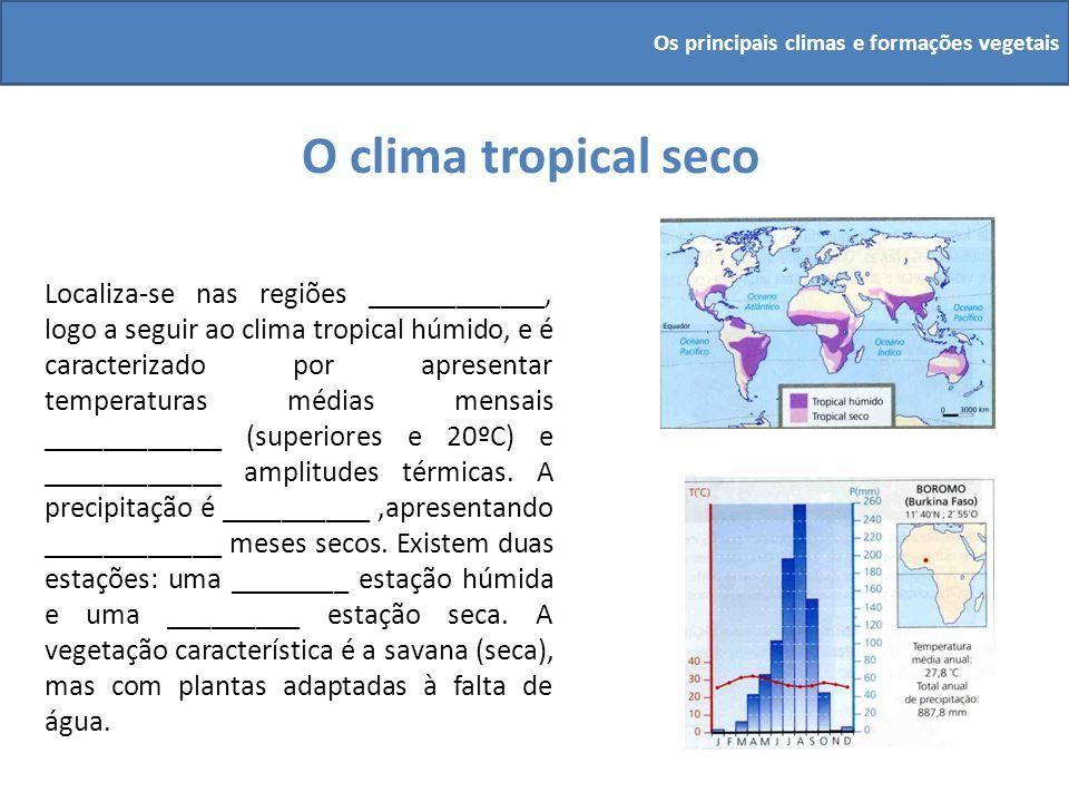 O clima tropical seco Localiza-se nas regiões ____________, logo a seguir ao clima tropical húmido, e é caracterizado por apresentar temperaturas médi
