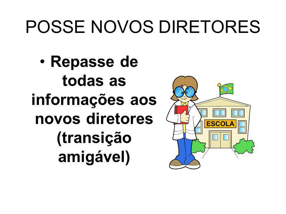 POSSE NOVOS DIRETORES Repasse de todas as informações aos novos diretores (transição amigável)
