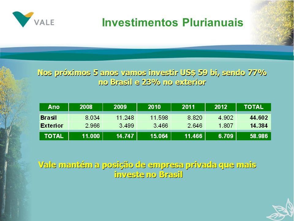 Investimentos Plurianuais Nos próximos 5 anos vamos investir US$ 59 bi, sendo 77% no Brasil e 23% no exterior Nos próximos 5 anos vamos investir US$ 59 bi, sendo 77% no Brasil e 23% no exterior Vale mantém a posição de empresa privada que mais investe no Brasil Vale mantém a posição de empresa privada que mais investe no Brasil