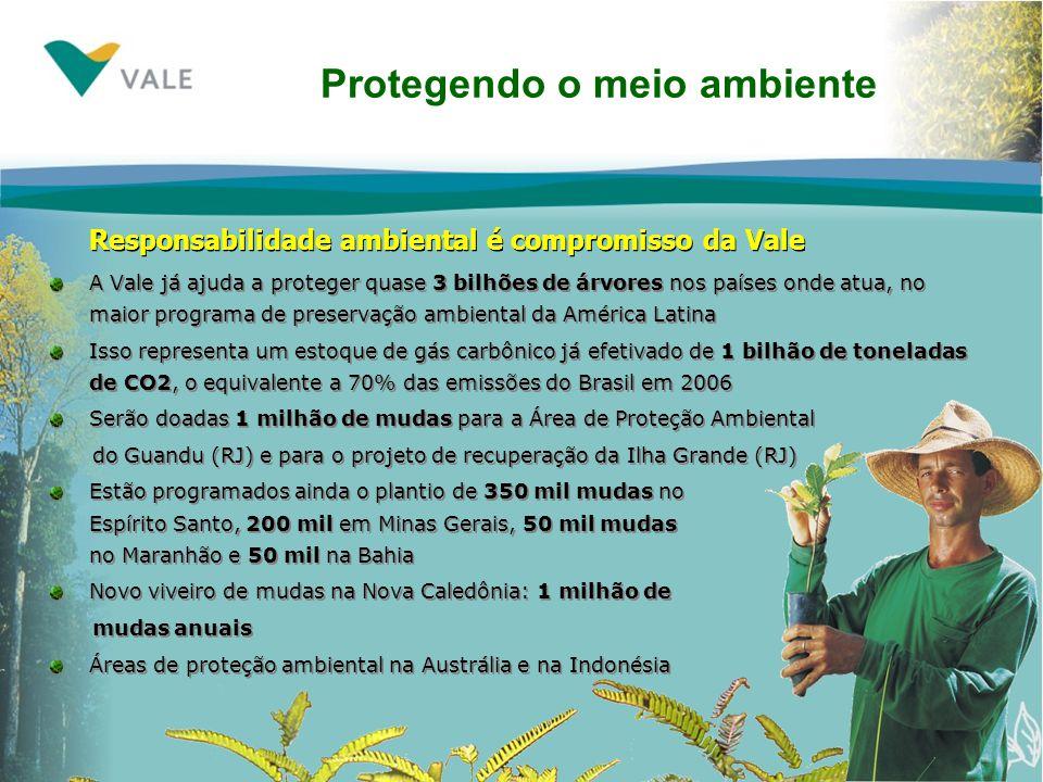 A Vale já ajuda a proteger quase 3 bilhões de árvores nos países onde atua, no maior programa de preservação ambiental da América Latina Isso representa um estoque de gás carbônico já efetivado de 1 bilhão de toneladas de CO2, o equivalente a 70% das emissões do Brasil em 2006 Serão doadas 1 milhão de mudas para a Área de Proteção Ambiental do Guandu (RJ) e para o projeto de recuperação da Ilha Grande (RJ) Estão programados ainda o plantio de 350 mil mudas no Espírito Santo, 200 mil em Minas Gerais, 50 mil mudas no Maranhão e 50 mil na Bahia Novo viveiro de mudas na Nova Caledônia: 1 milhão de mudas anuais Áreas de proteção ambiental na Austrália e na Indonésia Protegendo o meio ambiente Responsabilidade ambiental é compromisso da Vale