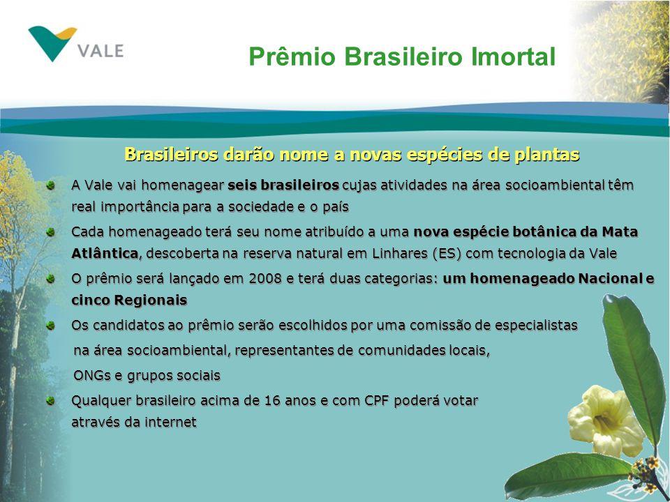 Prêmio Brasileiro Imortal A Vale vai homenagear seis brasileiros cujas atividades na área socioambiental têm real importância para a sociedade e o paí