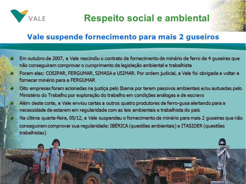 Respeito social e ambiental Em outubro de 2007, a Vale rescindiu o contrato de fornecimento de minério de ferro de 4 guseiras que não conseguiram comprovar o cumprimento da legislação ambiental e trabalhista Foram elas: COSIPAR, FERGUMAR, SIMASA e USIMAR.