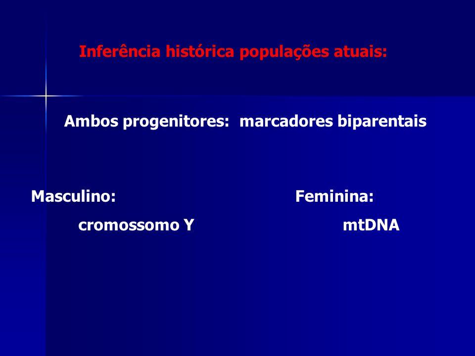 Ambos progenitores: marcadores biparentais Masculino: cromossomo Y Feminina: mtDNA Inferência histórica populações atuais: