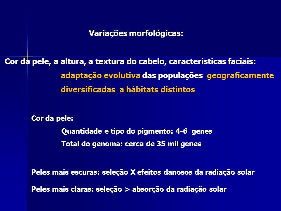 Variações morfológicas: Cor da pele, a altura, a textura do cabelo, características faciais: adaptação evolutiva das populações geograficamente divers
