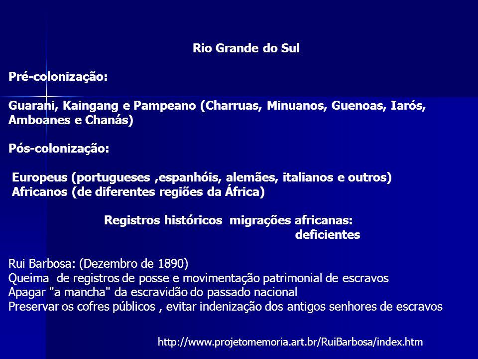 Rio Grande do Sul Pré-colonização: Guarani, Kaingang e Pampeano (Charruas, Minuanos, Guenoas, Iarós, Amboanes e Chanás) Pós-colonização: Europeus (por