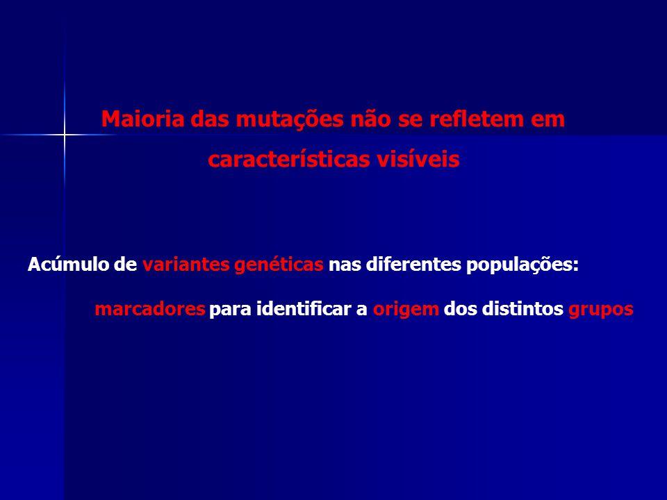 Maioria das mutações não se refletem em características visíveis Acúmulo de variantes genéticas nas diferentes populações: marcadores para identificar
