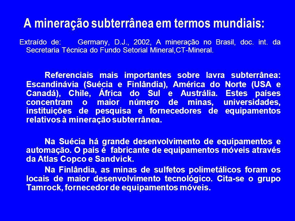 A mineração subterrânea em termos mundiais: Extraído de: Germany, D.J., 2002, A mineração no Brasil, doc. int. da Secretaria Técnica do Fundo Setorial
