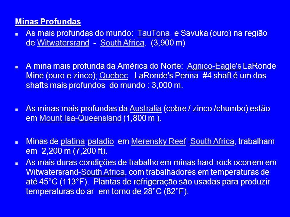 Minas Profundas n As mais profundas do mundo: TauTona e Savuka (ouro) na região de Witwatersrand - South Africa. (3,900 m)TauTonaWitwatersrandSouth Af