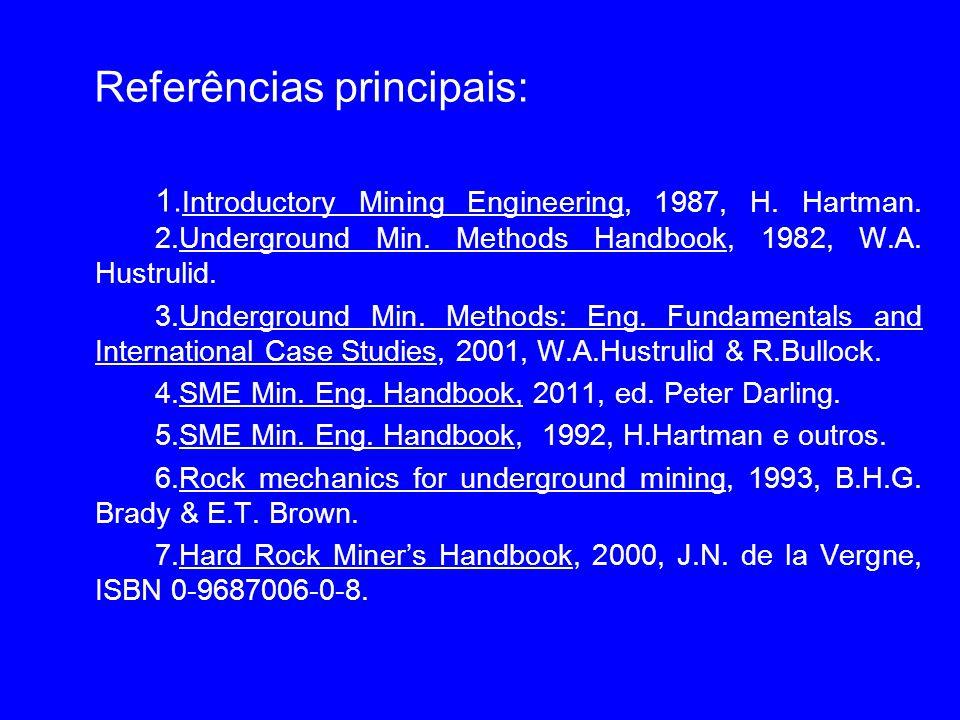 Referências principais: 1. Introductory Mining Engineering, 1987, H. Hartman. 2.Underground Min. Methods Handbook, 1982, W.A. Hustrulid. 3.Underground
