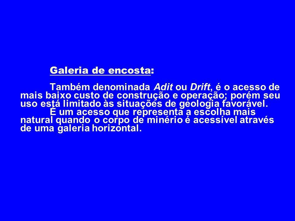 Galeria de encosta: Também denominada Adit ou Drift, é o acesso de mais baixo custo de construção e operação; porém seu uso está limitado às situações