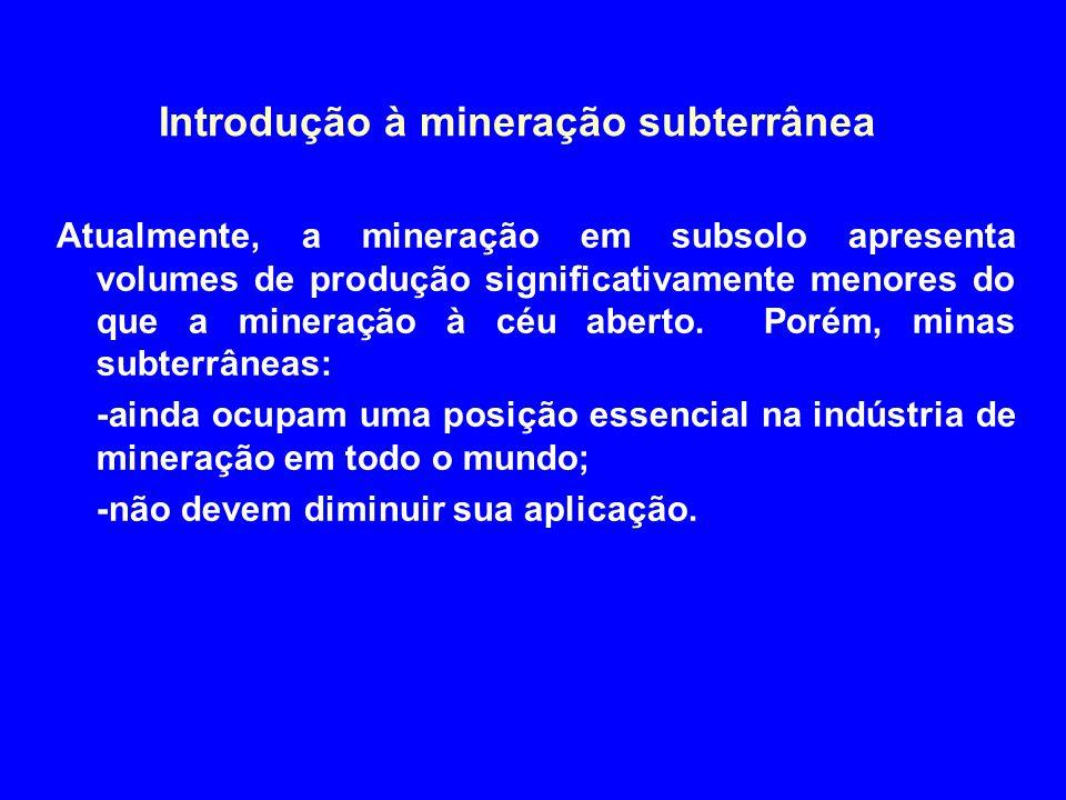Introdução à mineração subterrânea Razões para a continuidade da mineração em subsolo: -esgotamento dos depósitos a céu aberto e conseqüente busca por depósitos mais profundos; -menores impactos ambientais; -melhorias constantes em equipamentos de subsolo.