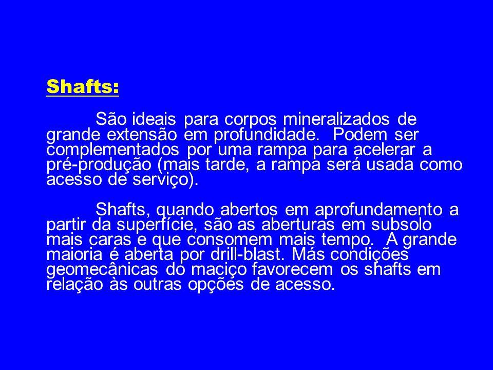 Shafts: São ideais para corpos mineralizados de grande extensão em profundidade. Podem ser complementados por uma rampa para acelerar a pré-produção (