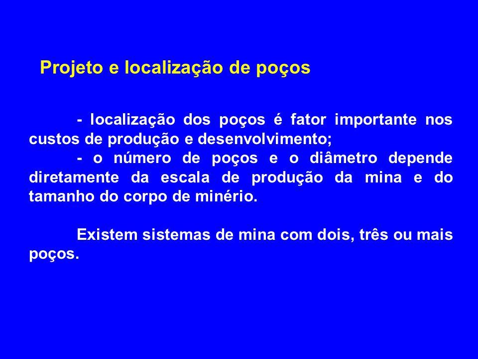 Projeto e localização de poços - localização dos poços é fator importante nos custos de produção e desenvolvimento; - o número de poços e o diâmetro d